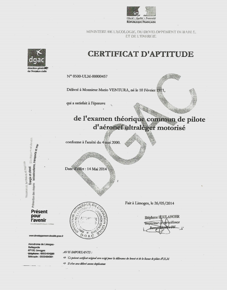 Reproduction du certificat d'aptitude du pilote