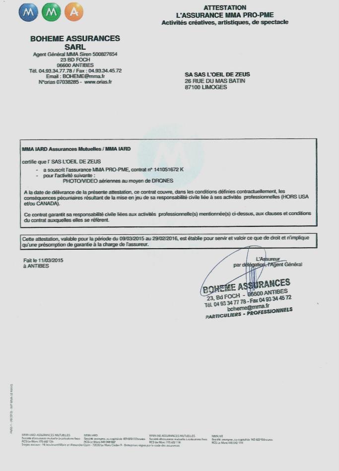 Reproduction du certificat d'assurance de L'oeil de Zeus pour l'année 2015
