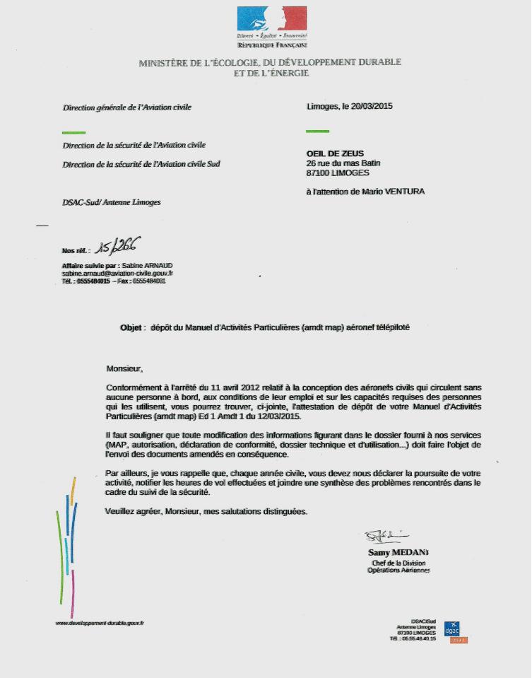 Reproduction du certificat de dépôt du manuel d'activités particulière première partie