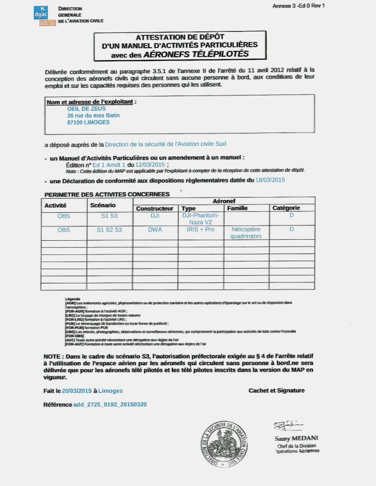 Reproduction du certificat de dépôt du manuel d'activités particulières seconde partie